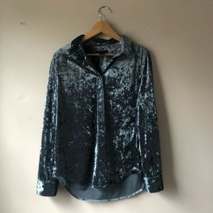 Investments M blue velour long sleeve button down